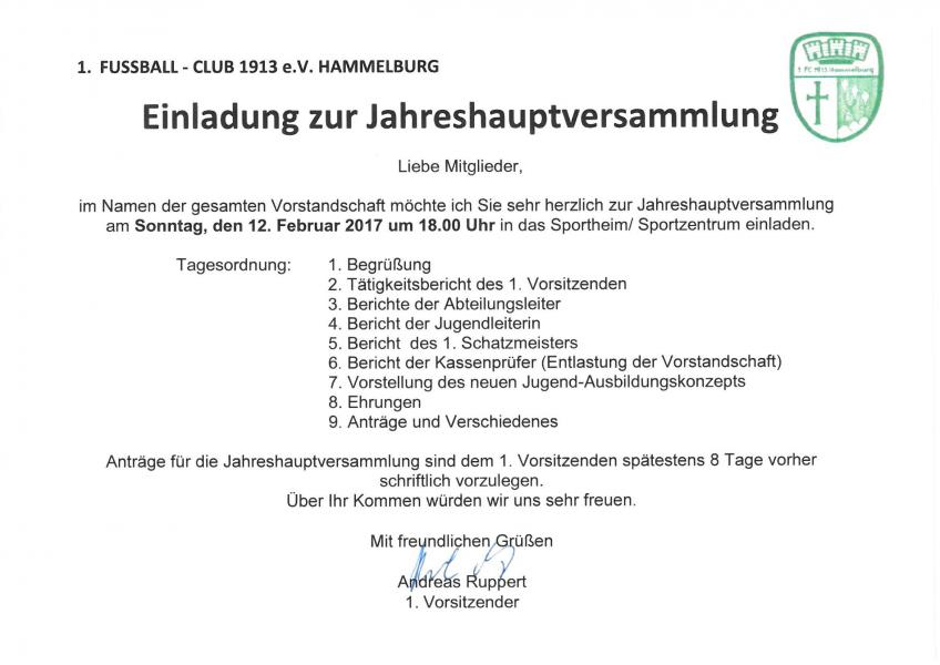 1.fc hammelburg, Einladung